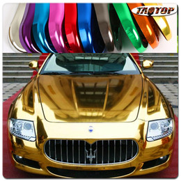 Wholesale red chrome vinyl - Factory Price 1.52x30M 60''X1181'' Air Free Bubbles Mirror Chrome Wrap Gold Car Vinyl Wrap Sticker