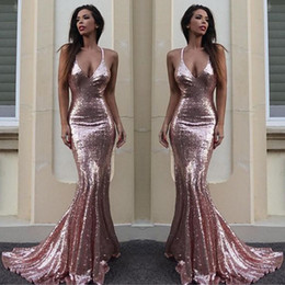 Wholesale White Ivory Maternity Dresses - Rose Gold Sequin Mermaid Evening Dresses Sparkle V Neck Spaghetti Straps Backless Silver Prom Dresses Gold Evening Gowns Criss Cross Back