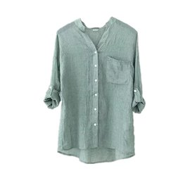 Wholesale Art Blouse - 2017 Summer Women Shirts Literature and Art Style Elegant Blouse Ladies Solid Color Ultra-thin Loose Shirt V-neck Sexy Womens Blouses ST100