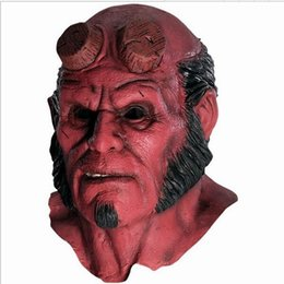 Wholesale Latex Mask Free Shipping - Hellboy Mask Hood Halloween Masks Realistic Silicone cosplay scary mask latex hood mascara terror vestido de festa face mask Free Shipping