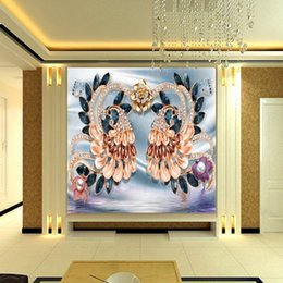 Wholesale Chinese Peacock Silk - Free Shipping 3D Stereo Custom Luxury Continental Peacock Silk TV Backdrop Living Room Lobby Wallpaper Mural