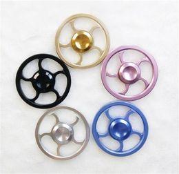 Wholesale Sport Steer - Steering Wheel Hand Spinner Aluminium alloy Fidget Spinner Round Wheel HandSpinner Aiming Circle Tri-spinner Decompression Toys