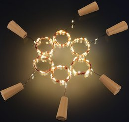 Wholesale Thin Copper Wire - 20 Led Lights 2M Solar Wine Bottle Stopper Copper Fairy Strip Wire Outdoor Party Decoration Novelty Night Lamp DIY Cork Light String