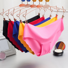 Wholesale Red Ruffle Underwear - Sexy Underwear Women Seamless Panties Tanga Sexy Briefs Silk Calcinha Blankholding Comfort Panties