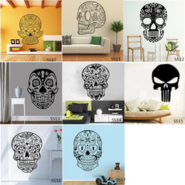 Wholesale People Religious - Sugar Skull Wall Stickers Vinyl Scared Skull Wall Sticker Decal Cartoon Flowers Music Skull Decals Home Decor Free Shipping