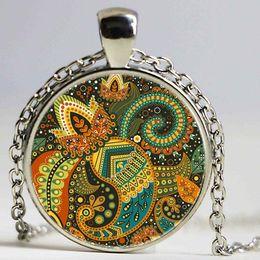 Mandala regalos online-Collar colorido de la flor de la vendimia Mandala Jewelry Pentagram colgante Gargantilla OM collar Bijoux Femme Collares Friend Gifts