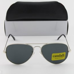 Wholesale Discount Oval Frames - 20pcs Cassdall Hot Sell Men's and Women's Sunglasses Pilot Sunglasses Silver Frame Glass Lens Discount Price of Best Quality+Black Case