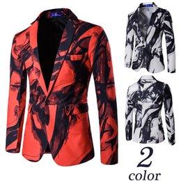 Wholesale One Button Lapel Casual Suits - Luxury Men New Fashion Brand Suit Men's Casual One Button Suit Ink Print Blazer Men Casual Business Dress Blazer Masculino