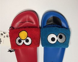 Wholesale Animals Slipper For Kids - Sesame Street RIHANNA SLIDES FOR WOMEN KIDS slippers all blue all red ,with original box
