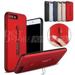 Wholesale Finger Back - Hybrid TPU+PC Armor Case Shock-Proof Cases Finger Buckle Stand Back Cover For iPhone X 8 7 6S Plus Samsung S8 Plus S7 Edge