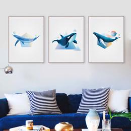 Canada Abstrait Océan Animaux Forme 3D Baleine Toile Affiche Affiche Grand Mur Art Peintures No Frame Moderne Nordic Salon Home Decor Offre