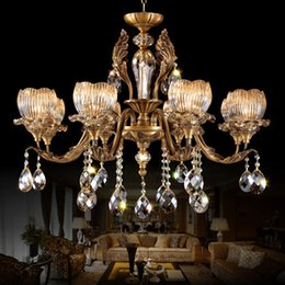Wholesale Palace Glass - Copper crystal chandeliers high class elegant noble American European style chandelier lighting living room bedroom palace hotel forlight