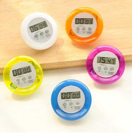 Wholesale Digital Count Up Down Timer - Cute Mini Round LCD Display Digital Cooking Home Kitchen Countdown Timer Count Down Up Alarm Clip Timer Alarm CCA6694 600pcs