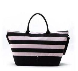 Wholesale Canvas Beach Totes Wholesale - 2017 Hot selling VS PINK black stripe beach bag shopping bag One shoulder inclined shoulder bag size: 42 * long 40 * 18 cm wide