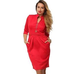 Wholesale Large Size Night Dresses - Wholesale- 2016 Women Spring Dress Large Size European Pure Color Sexy v-Neck Pockets Hip Mini Dress Pencil Dress