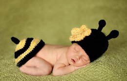 Wholesale Baby Bee Crochet - New 0-3 months Sweet Adorable Hand-woven Bee Cute New Born Baby Clothes Hook Hundred Days Baby Photo Photography Props Wool