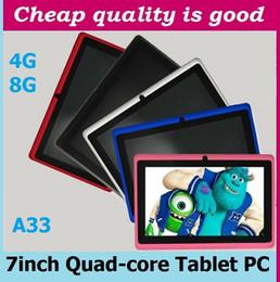 Wholesale Epad Dual Camera - 7 inch Capacitive Allwinner A33 Quad Core Android 4.4 dual camera Tablet PC 8GB RAM 512MB ROM WiFi EPAD Youtube Facebook Google A-7PB