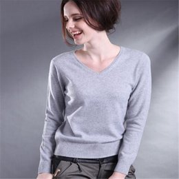 Wholesale Womens Long Sweater Xxl - Wholesale- 2017 Women Spring Winter Cashmere Blend Sweater V-Neck Pullovers Long Sleeve Jumpers Womens Knitted Sweaters16 Colors S-XXL