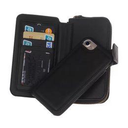 Wholesale iphone5 cased - Wallet Leather Case For iPhone7 plus 6s 6plus iphone5 5S SE GalaxyS7 S7 edge Zipper Purse Pouch Phone Cases Women Lady Handbag Wallet