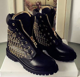 Wholesale Cool Motorcycle Women - Street Cool Design Brand Womens Ankle Boots Fashion Eyelet Hole Super Quality Paris Waterproof Martin Boots