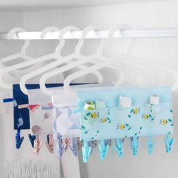 Wholesale Cloth Hanger Portable - 1PC 34*23cm Printed Cloth Hangers Racks with 6 Clips Portable Foldable Travel Clothespin Bathroom Closet Storage Holder Organizer