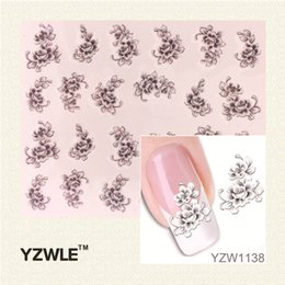 Wholesale French Nail Decals - Wholesale- YZWLE Hot Sale 1 Sheet Water Transfer Nail Art Stickers Decal Elegant Light Blue Peony Flowers Design French Manicure Tools