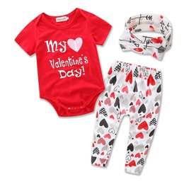 Wholesale Kids Headband Brand - Baby Girls Romper Sets 2017 Kids Girl Letter Print Jumpsuit+Pants+Headband 3pcs Suits Newborn Infant Valentine Day Gift Children Clothing