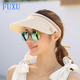 Wholesale Straw Hats Baseball Caps - Wholesale- women's summer visor strawhat sun-shading sun hat beach cap Papyruses Air cap Seaside Sandy beach baseball caps casual fashion