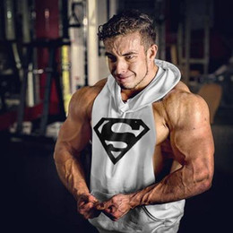 Wholesale Black Sweater Vest Men - Wholesale brand muscle vest fitness clothing hooded sweater T-shirt cotton fitness mens sweat solid tank coat gold men sweat.