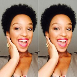 Wholesale Cut Wig - top quality short cut kinky curly wig simulation brazilian human hair short cut kinky curly full wig for black women
