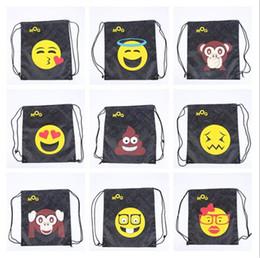 Wholesale 12 Drawstring Backpacks - Bags Fashion Girls Backpacks Emoji Oxford Travel Beach Storage Bags Drawstring 12 Colors Top Quality Unisex Women Bag Christmas Decoration