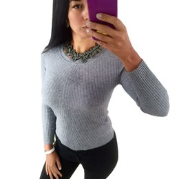 ea3e7ad7a Wholesale-Colorful Apparel women's Autumn Winter Cashmere Blend Sweater  O-Neck Pullovers Long Sleeve Jumpers women's Knitted Sweaters