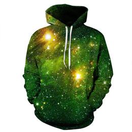 Wholesale Cool Color Paintings - Cool Long Sleeve Green Galaxy Pattern 3D Painted Hoodie