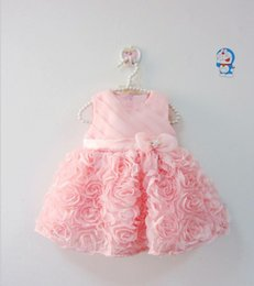 Wholesale Newborn Baby Dress Clothes - Wholesale- 2016 Summer babies dress flower girl infant dresses lace princess clothes bow toddler party wedding dress newborn birthday dress