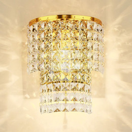 Wholesale Hanging Crystal Wall Lights Bedroom - Luxury TWO-Tiers Crystal Hanging Bedroom Wall light Modern Corridor Wall Sconces Balcony Hallway Crystal Silver Gold Wall Lamp