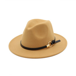 Wholesale Woman Blue Sun Hat - 5pcs!Fashion TOP hats for men & women Elegant fashion Solid felt Fedora Hat Band Wide Flat Brim Jazz Hats Stylish Trilby Panama Caps