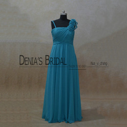 Wholesale Sleeveless Chiffon Long Asymmetrical Dress - 2017 Strapless A-Line Bridesmaid Dresses Asymmetrical Neckline With Hand Made Flowers Pleated Bodice Backless Floor Length Prom Gowns