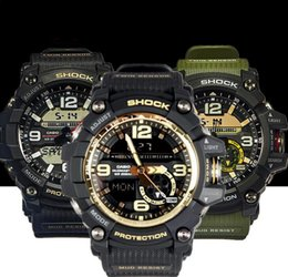 Wholesale Light Green Watch - G Sport Watch Men GG1000 Dive Military Clock Auto Light LED Watches Brand Luxury Camouflage All Dails Function Work GG 1000