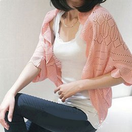 Wholesale Cotton Shrugs - Wholesale-Cardigans Summer Casual Candy Colors 2015 Women Knitted Batwing Sleeve Cotton Sweater Coat Female Poncho Ladies Knitwear Shrug