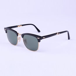 Wholesale Gold Frame Half Glasses - folding Excellent Quality Fashion Designer Sunglasses Semi Rimless Sun Glasses For Mens Womens Gold Frame Green 51mm Glass Lenses With Cases