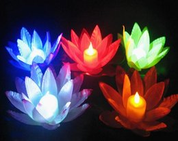 Wholesale Color Changing Candle Floating - Color Changing LED Lotus Lamp Floating Water Wishing Lantern Artificial Silk Flower Candle Lights Free shipping