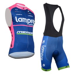 Wholesale Lampre Cycling - Lampre Breathable Sleeveless Vest Set Cycling Jersey Summer MTB Bike Clothes Bicycle Clothing Ropa Ciclismo D1002