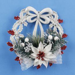 Wholesale Christmas Wreath Wholesalers - Christmas Tree Wreath Christmas Decoration Gift Garland Hangings white Christmas Wreath Ring Base Door Hanging Garishness Decorations