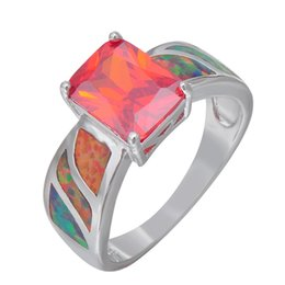 Wholesale Fire Horn - Wholesale- Stylish Jewelry Exquisite Rainbow Fire Opal Shining Red Wedding Ring For Women 925 Silver Filled Engagement Rings Bijoux RS0147