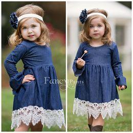 Wholesale Long Sleeve Blue Jean - children jean dress Girls falbala long sleeve denim lace crochet hem dresses Spring new kids princess dress girls pleated dress