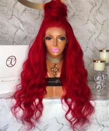 Wholesale Long Remy Lace Front Wigs - Red Glueless Lace Front Wigs Human Hair Wavy Non-remy Hair Malaysian 150% Density With Side Part bleached knots For Black Women