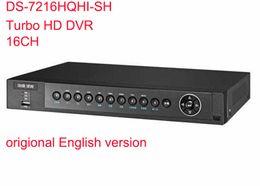 Wholesale 16ch Hybrid Dvr - Hikvision Original English Version DS-7216HQHI-SH 16ch 1080P Turbo HD DVR Support HD-TVI analog IP camera triple hybrid 2HDD 1U