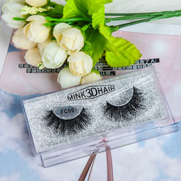 Wholesale Hair Manufactures - 1 Pair 3D Real Mink Fur Fake Eyelashes OEM manufacture Cross Thick Mink Fur Hand-made False Lashes