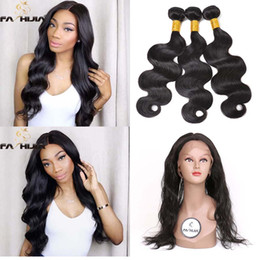 Wholesale Real Raw - natural color Virgin Peruvian Body Wave Human Hair weaves 360 Full Lace Frontal Closure with bundles for black women raw real hair extension