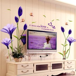 Wholesale Backdrop Stickers - Beautiful Flowers Purple Lilies Wall Stickers Home Decor For Backdrop Decorative Wall Free Shipping